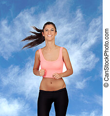 Attractive brunette girl running