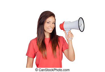 Attractive brunette girl with a megaphone
