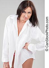 brunette in white shirt