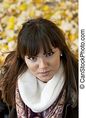 Attractive brunette portrait outdoors