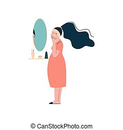 Attractive Brunette Pregnant Woman Applying Cream on her Face, Happy Pregnancy, Maternal Health Care Vector Illustration