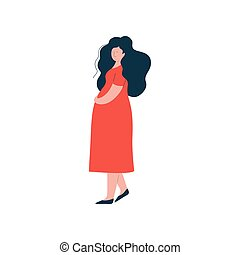 Attractive Brunette Pregnant Woman in Red Dress, Happy Pregnancy, Maternal Health Care Vector Illustration
