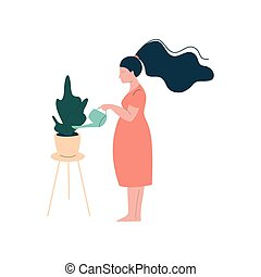 Attractive Brunette Pregnant Woman Watering Houseplant, Happy Pregnancy, Maternal Health Care Vector Illustration