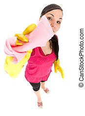 housework - attractive brunette woman doing housework