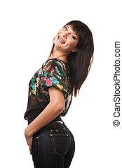 Attractive brunette woman wearing j