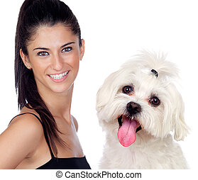 Attractive brunette woman with her little dog