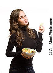 attractive brunette woman with salad.