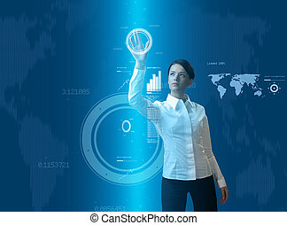 Attractive brunette young woman in futuristic interface -...