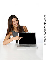 Attractive business girl showing laptop screen