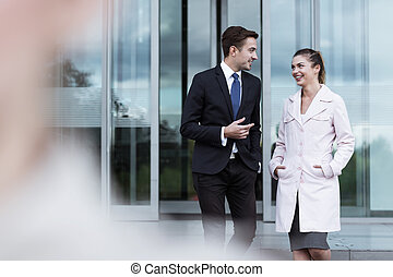 Attractive business man and woman
