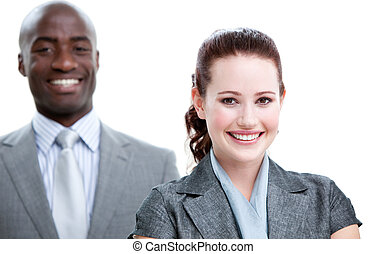 Attractive business people standing in a row