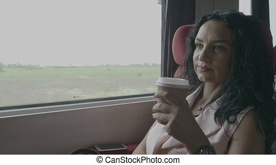 Attractive business woman enjoying trip on train commuting to work office sitting near window and drinking coffee