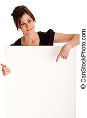 Attractive business woman holding white board