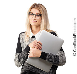 Attractive business woman in glasses with laptop, isolated on white
