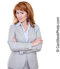 Attractive business woman in grey suit