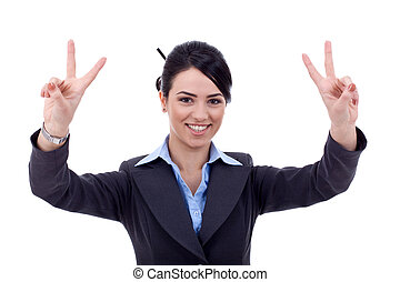 business woman making the victory sign