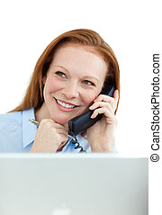 Attractive business woman on phone