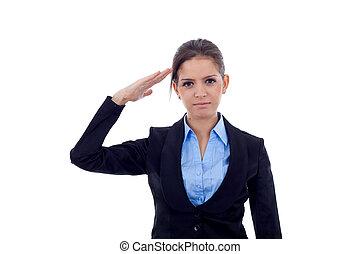 business woman saluting