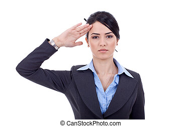 business woman salutin - Attractive business woman saluting...