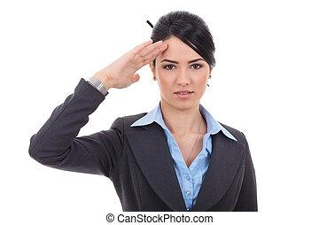 business woman saluting - Attractive business woman saluting...
