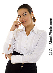 Attractive business woman thinking