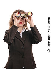 Attractive business woman with binoculars - isolated on...
