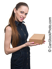 attractive business woman with cardboard box