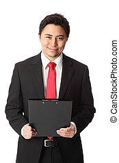 Attractive businessman clipboard