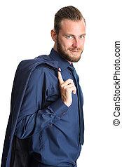 Attractive businessman in blue