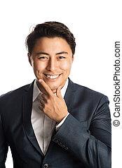 Attractive businessman in blue suit