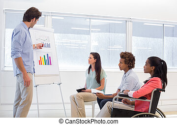 Attractive businessman making a presentation to his fellow coworkers in the office