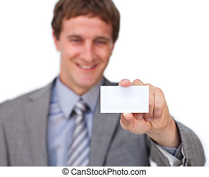 Attractive Businessman showing a business card