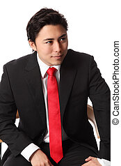 Attractive businessman sitting