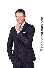 Attractive businessman smiling at the camera