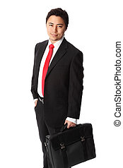 Attractive businessman with case
