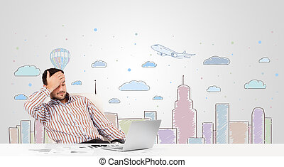 Attractive businessman with city sky-scape background - ...