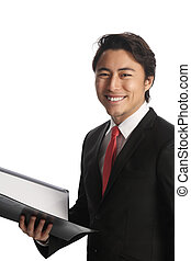Attractive businessman with clipboa