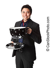 Attractive businessman with coffee