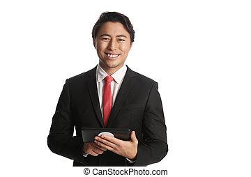 Attractive businessman with digital