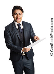Attractive businessman with document