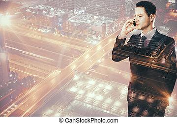 Attractive businessperson on the phone multiexposure