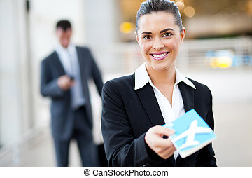 attractive businesswoman check in