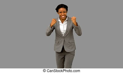 Attractive businesswoman gesturing