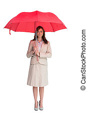 Attractive businesswoman holding red umbrella