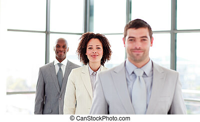 Attractive businesswoman in a line