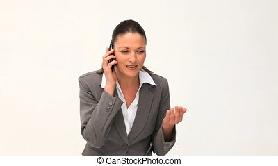 Attractive businesswoman phoning - Attractive businesswoman...