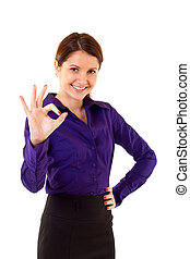 Attractive businesswoman satisfied with results - ok sign over white
