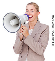 Attractive businesswoman shouting through a megaphone...
