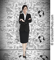 Attractive businesswoman with arms
