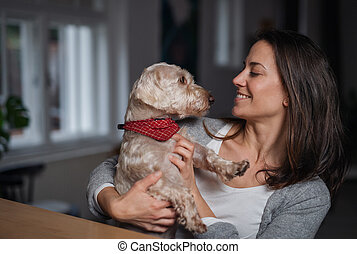 Attractive businesswoman with dog indoors in office, resting.